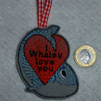 Hanging decoration Valentines day gift - Embroidered whale