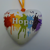Fabric hanging heart - Hope embroidered rainbow colours
