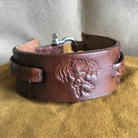 Hand Crafted Leather Dragon Cuff