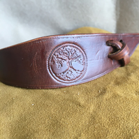 Hand Crafted Tree of Life Leather Bracelet