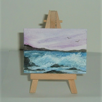 original art aceo seascape painting ( ref F 231)