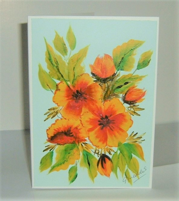 original hand painted greetings card ( ref F 237)