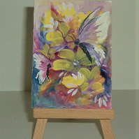 hand painted floral acrylic miniature art painting ( ref F 244)