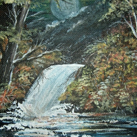 acrylic art waterfall painting ( ref F 253)