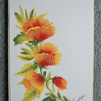 original hand painted floral greetings card ( ref f 259)