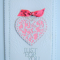 Hand made Heart greetings card ( ref F 296)