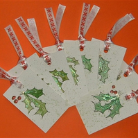 set of 8 original hand painted Christmas gift tags ( ref F 311)