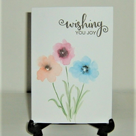 hand drawn and painted floral greetings card ( ref f 322)
