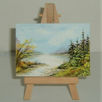 aceo atc miniature watercolour painting art ( ref F 356)