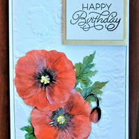 hand crafted Poppy Birthday card ( ref F 380)