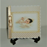 hand crafted New Baby card ( ref F 385)