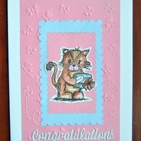 hand crafted congratulations card ( ref F 406)