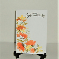 Hand painted floral anniversary greetings card ( ref F 417)