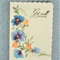 hand painted Get Well Soon greetings card ( ref F 448)