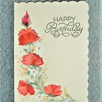 original hand painted floral Birthday card ( ref F 461)