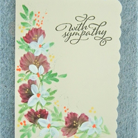 original hand painted Sympathy card ( ref F 459)