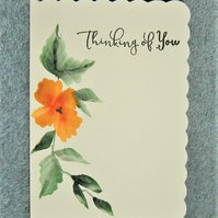 hand painted original floral greetings card ( ref F 466)