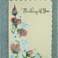 original hand painted floral card ( ref F 467)