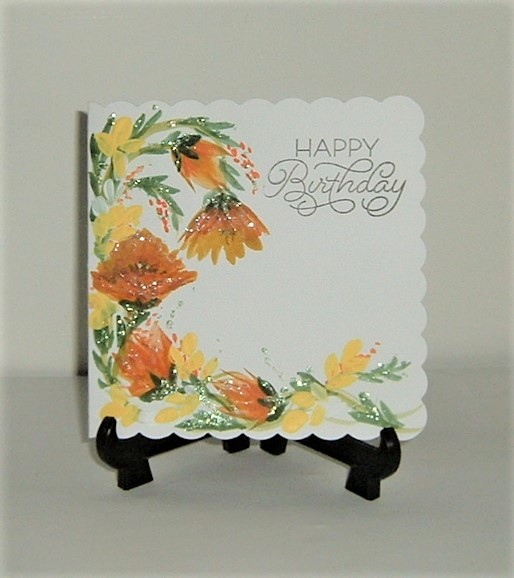 original hand painted Birthday card ( ref F 511)