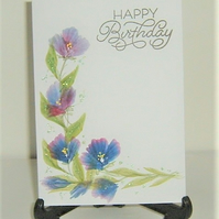 original hand painted Birthday Card ( ref F 518)
