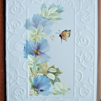hand painted floral greetings card all occasion ( ref F 530)