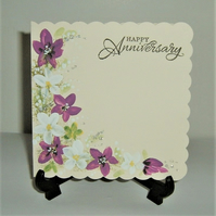 hand painted floral Anniversary greetings card ( ref F 528)