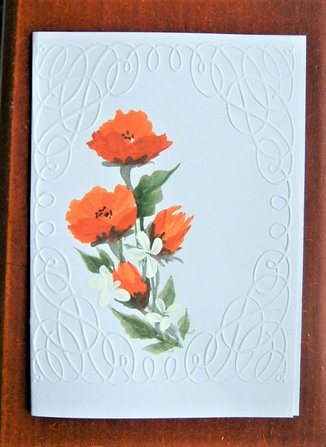 floral original art hand painted greetings card ( ref F 560)