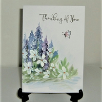 original art hand painted floral greetings card ( ref F 564)