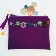 Purple Canvas Purse with Vintage Buttons