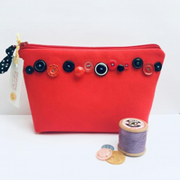 Red Canvas MakeUp Bag with Vintage Buttons