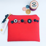 Red Canvas Purse with Vintage Buttons
