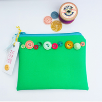 Green Canvas Purse with Vintage Buttons