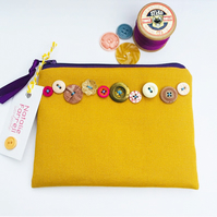 Mustard Canvas Purse with Vintage Buttons