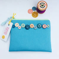 Blue Canvas Purse with Vintage Buttons