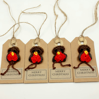 Four Crochet Robin Gift Tags