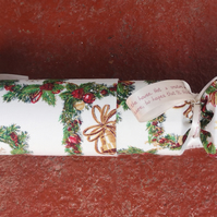 Homemade Christmas crackers, Green, white, wreaths and bells (8)