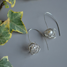 White pearl and silver scribble Earrings, knot, 925 sterling silver, wire work,
