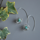 Turquoise Scribble threader Earrings