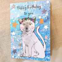 Happy Birthday to You Mario the Cat Illustrated Card - Illustration - Cats