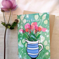 Happy Birthday Bunch of Tulips Illustrated A6 Card