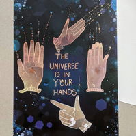 The Universe is in Your Hands Illustrated A5 Art Postcard