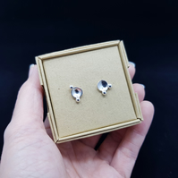 Large Planet & Moon Inspired Sterling Silver Stud Earrings (Design C)