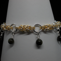 Byzantine chainmaille bracelet with golden obsidian charms