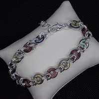 Glass ring chainmaille bracelet