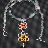 Fluorite necklace with Japanese flower chainmaille pendant