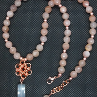 Sunstone necklace with Japanese chainmaille flower