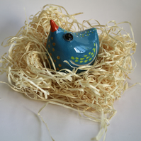 PERKY BIRD-POTTERY BIRD - DUCK EGG BLUE