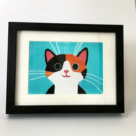 GINGER AND BLACK CAT GICLEE PRINT FRAMED