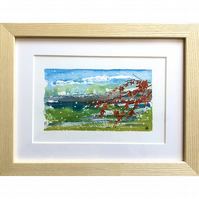 RED ACER - FRAMED MIXED MEDIA PAINTING
