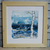 WHITE BIRCH, FIRST SNOW - ASH FRAMED PAINTING